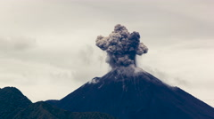 Reventador Volcano erupting in the early morning, November 2015. Stock Footage