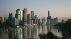 Early morning view of brisbane from kangaroo point Stock Footage