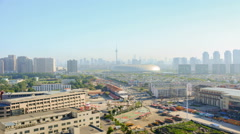 Time lapse Cityscape of Tianjin city China in foggy day.Aerial perspective. Stock Footage