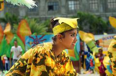Corn festival street dancers at church square Stock Photos