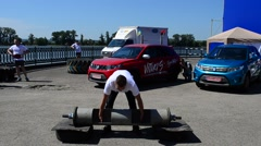 The athlete put up barbell. Stock Footage