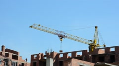 Shooting of construction of residential buildings, operation of the crane. Stock Footage