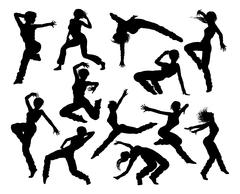 Street Dance Dancer Silhouettes - stock illustration