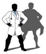 Doctor Super Hero Silhouette Stock Illustration