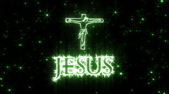 Jesus Shiny Text Animation Green Stock Footage