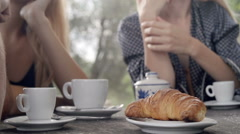 Close up of italian breakfast with people Stock Footage