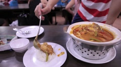 Fish Head Curry in Singapore Restaurant Stock Footage