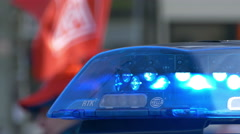 Police car flashing blue light flashlight bluelight Stock Footage