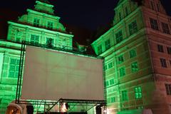 Large Outdoor Movie Projector Screen at Night Kuvituskuvat
