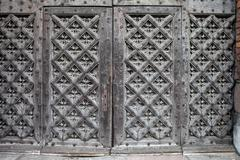 Ancient Gothic Wooden Double Doors Stock Photos