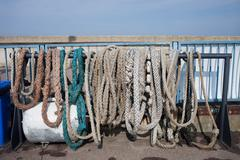 Old Anchor Ropes and Mooring Lines Stock Photos