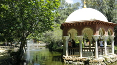 Panning time lapse of a pond in Parque de Maria Luisa in Seville Stock Footage