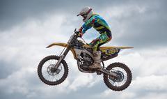 High Motorcross Jump - stock photo