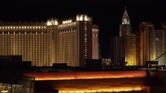 4K ES: Las Vegas Skyline Features The Monte Carlo Hotel Stock Footage