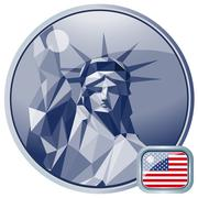 Fourth of july independence day card, with statue of liberty. Digital vector - stock illustration