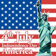 Fourth of july independence day card, with statue of liberty. Digital vector Piirros