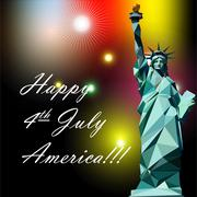 Fourth of july independence day card, with statue of liberty and fireworks. - stock illustration