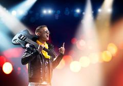 Rock star on stage - stock photo