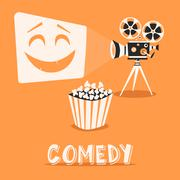 Comedy in the cinema. Happy holidays with popcorn Piirros
