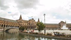 Wide-angle time lapse of Plaza de Espana in Seville, Spain Stock Footage