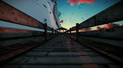 Passengers waiting to embark on cruise ship, timelapse sunset, sound included Stock Footage
