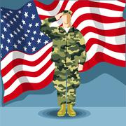 Happy fourth of july America, independence day card, with an army soldier Stock Illustration
