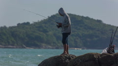 Summer day coastline fisherman beach view hd phuket thailand Stock Footage