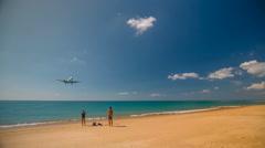 Summer time famous phuket airport beach jet plain landing hd thailand Stock Footage
