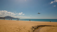 Summer day jet plain landing famous phuket beach panorama hd thailand Stock Footage
