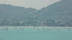 Summer yacht and sailboat park coast line panorama hd phuket thailand Stock Footage