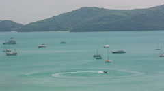 Summer day light hill beach view boats park panorama hd phuket thailand Stock Footage
