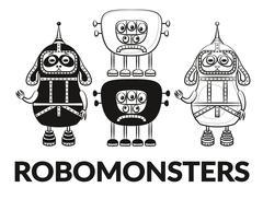 Contour and Silhouette Robots Set - stock illustration