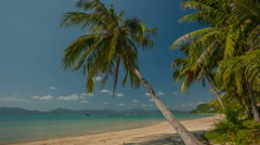 Famous beach palm tree coastline panorama hd phuket island thailand Stock Footage