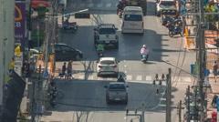 Phuket town summer day roof top view traffic street crosswalk hd thailand Stock Footage