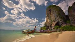Summer day krabi beach sky run tourist famous panorama hd thailand Stock Footage