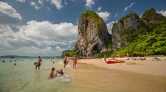 Summer day tourist famous crowded krabi island beach hd thailand Stock Footage