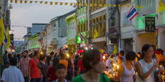 Sunset phuket town famous crowded tourist market street hd thailand Stock Footage