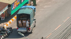 Summer day phuket town traffic street little truck hd thailand Stock Footage