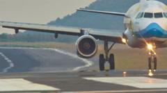Summer time phuket main airport jet plain landing ride hd thailand Stock Footage