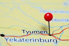 Tyumen pinned on a map of Russia - stock photo