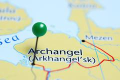 Archangel pinned on a map of Russia Stock Photos
