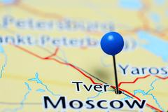 Tver pinned on a map of Russia Stock Photos