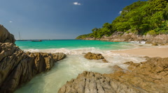 Famous summer time private freedom beach panorama hd phuket thailand Stock Footage