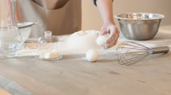 Pleasant baker cooking in the kitchen Stock Footage