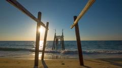 Summer sunrise famous old bamboo pier panorama hd phuket thailand Stock Footage