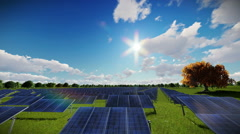 Solar pannels, timelapse clouds, aerial view Stock Footage