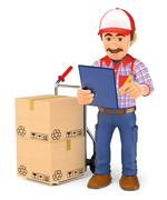 3D Courier delivery man checking the packages to deliver Stock Illustration
