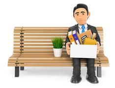 3D Businessman fired sitting on a bench with his stuff - stock illustration