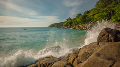 Summer time men swimming in waves freedom beach panorama hd thailand Stock Footage