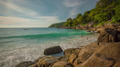 Summer sunset private freedom beach waves panorama hd phuket thailand Stock Footage